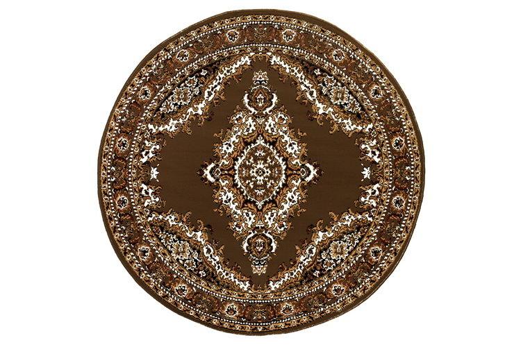 Hnědý kusový orientální kulatý koberec Teheran-T