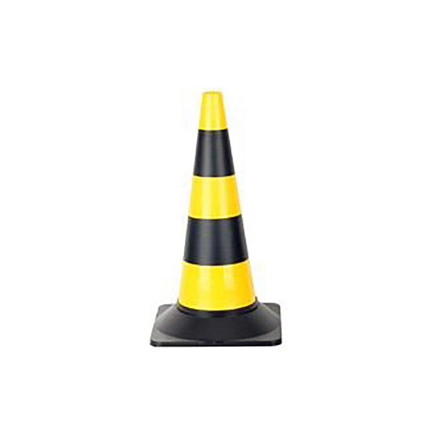 Černo-žlutý plastový (PE) výstražný kužel - šířka 29 cm a výška 50 cm
