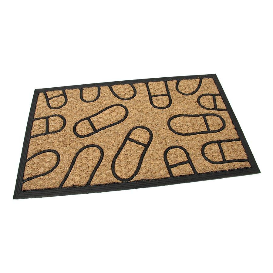Kokosová čistící venkovní vstupní rohož Rectangle - Traces, FLOMAT - délka 45 cm, šířka 75 cm a výška 0,8 cm