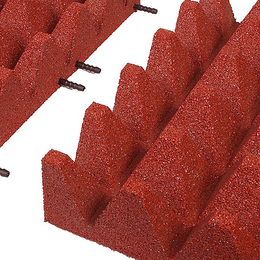 Červená gumová krajová dopadová dlaždice (V100/R75) FLOMA - délka 50 cm, šířka 25 cm a výška 10 cm
