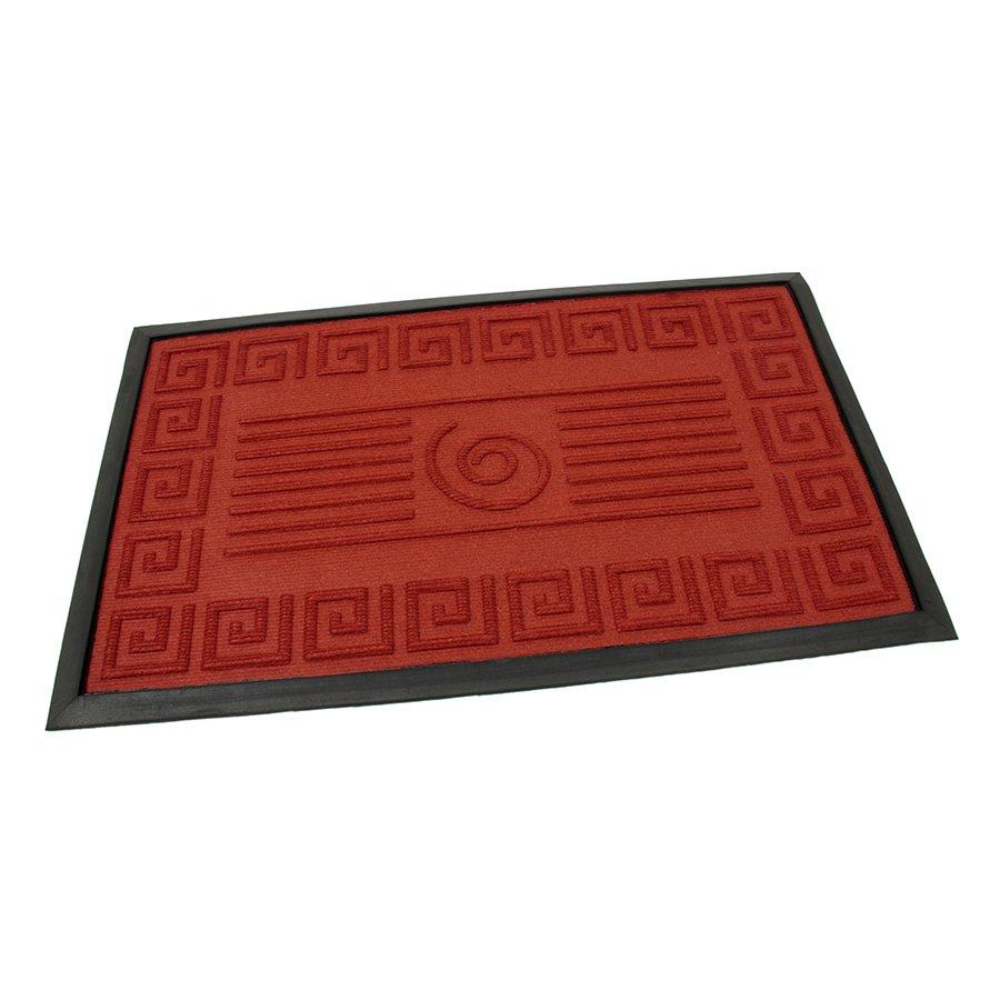 Červená textilní gumová čistící vstupní rohož Rectangle - Deco, FLOMAT - délka 45 cm, šířka 75 cm a výška 0,8 cm