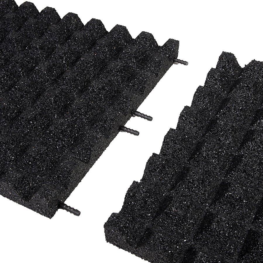 Černá gumová dlaždice (V50/R28) - délka 100 cm, šířka 100 cm a výška 5 cm