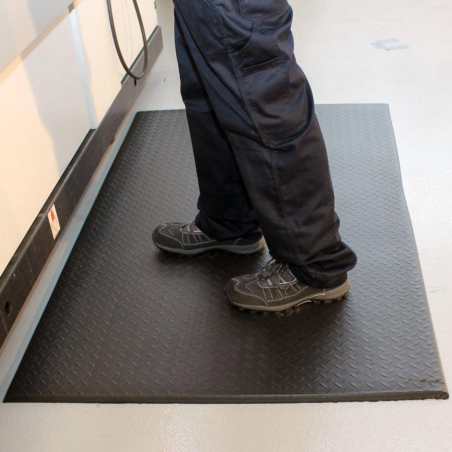Černá vinylová protiskluzová protiúnavová průmyslová rohož - délka 150 cm, šířka 90 cm a výška 0,9 cm