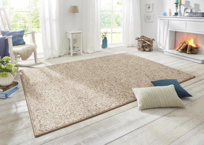 Světle hnědý kusový moderní kulatý koberec Wolly