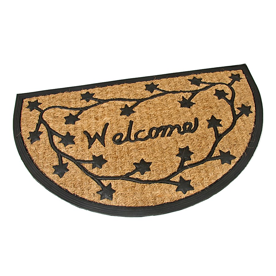 Kokosová čistící venkovní vstupní půlkruhová rohož Welcome - Deco, FLOMA - délka 45 cm, šířka 75 cm a výška 0,8 cm
