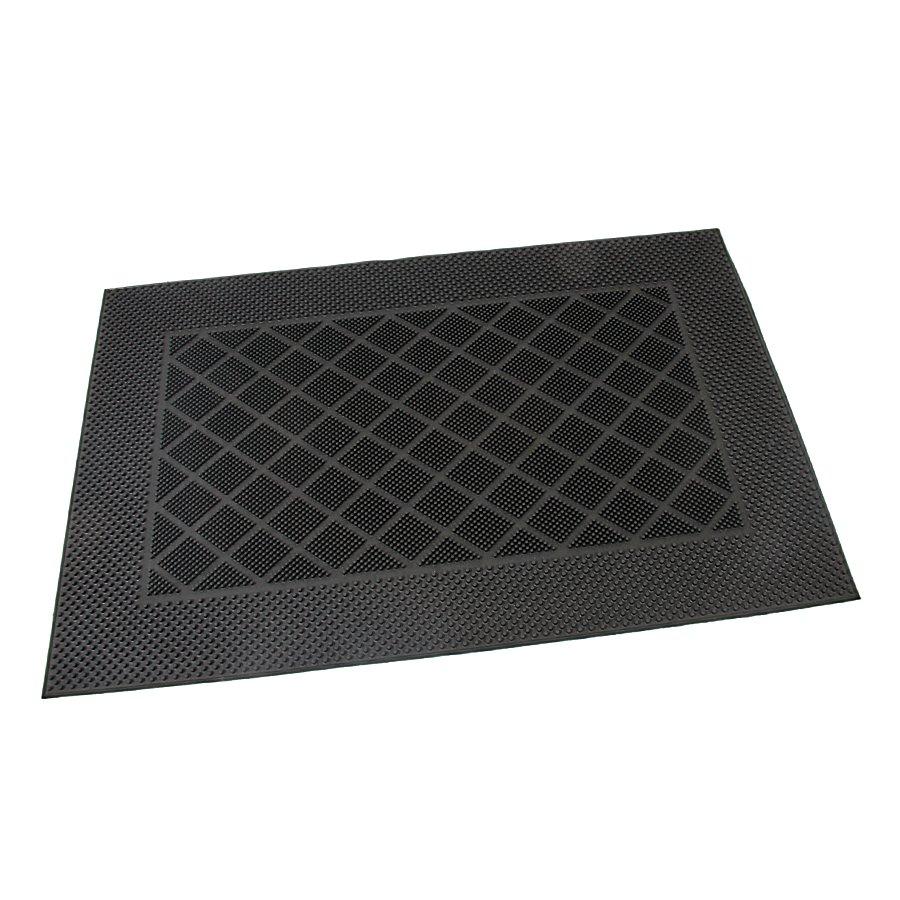Gumová vstupní venkovní kartáčová čistící rohož Squares - Rectangle, FLOMAT - délka 60 cm, šířka 40 cm a výška 0,7 cm