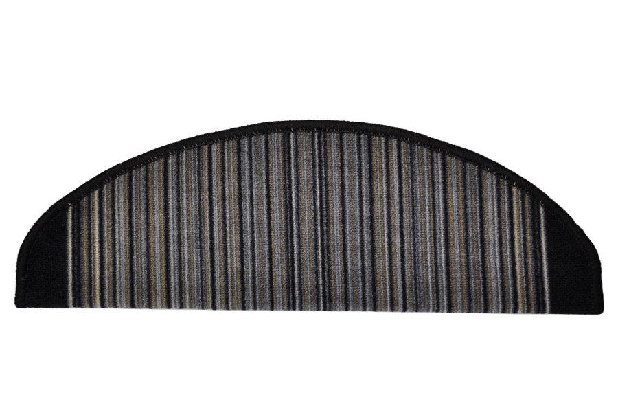 Antracitový kobercový půlkruhový nášlap na schody Carnaby - délka 65 cm a šířka 24 cm