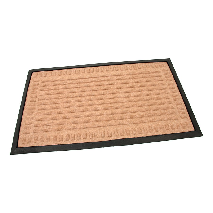 Béžová textilní gumová čistící vstupní rohož Stripes - Deco, FLOMAT - délka 45 cm, šířka 75 cm a výška 0,8 cm