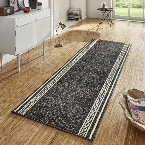 Černý moderní kusový koberec běhoun Basic - délka 400 cm a šířka 80 cm