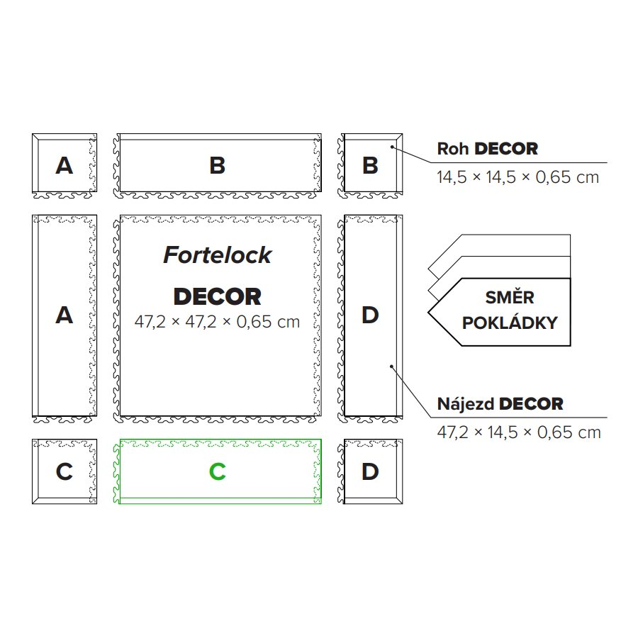"Hnědý plastový vinylový nájezd ""typ C"" Home Decor 2113, Fortelock - délka 47,2 cm, šířka 14,5 cm a výška 0,65 cm"