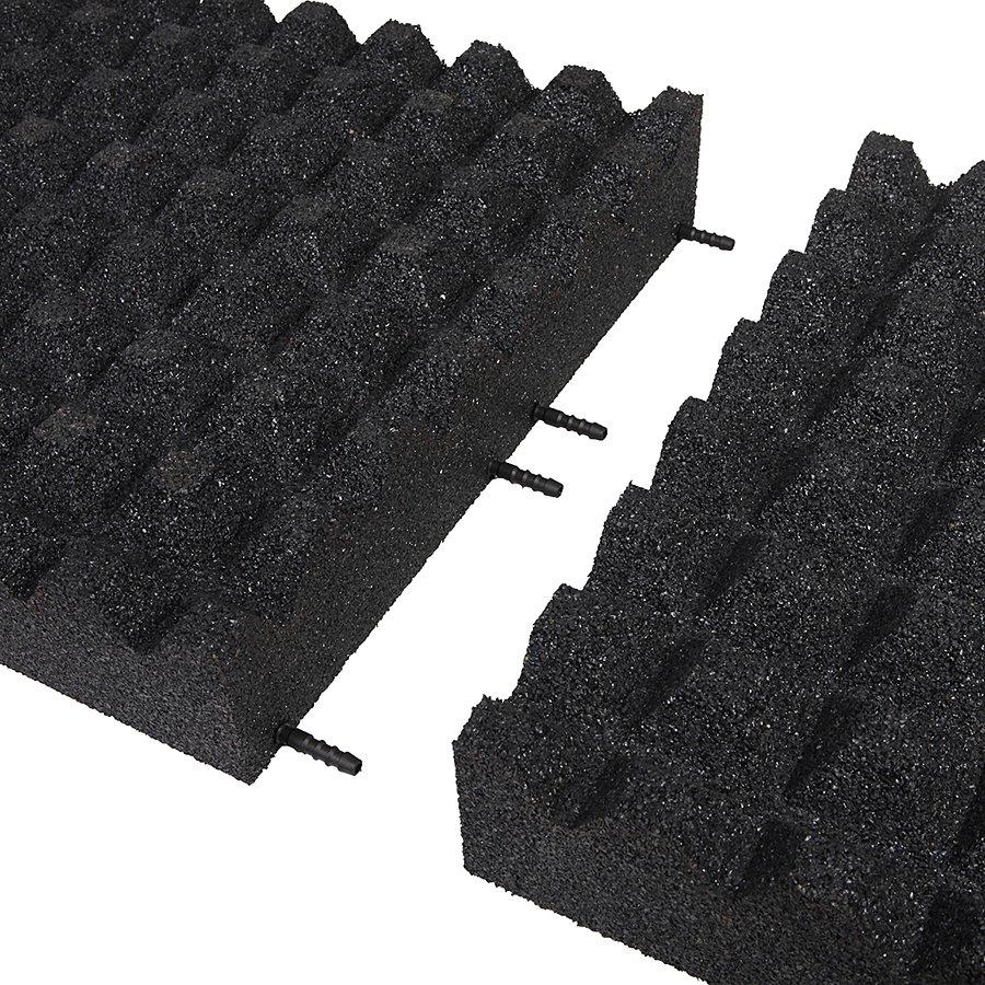 Černá gumová dopadová dlaždice (V100/R28) FLOMA - délka 50 cm, šířka 50 cm a výška 10 cm