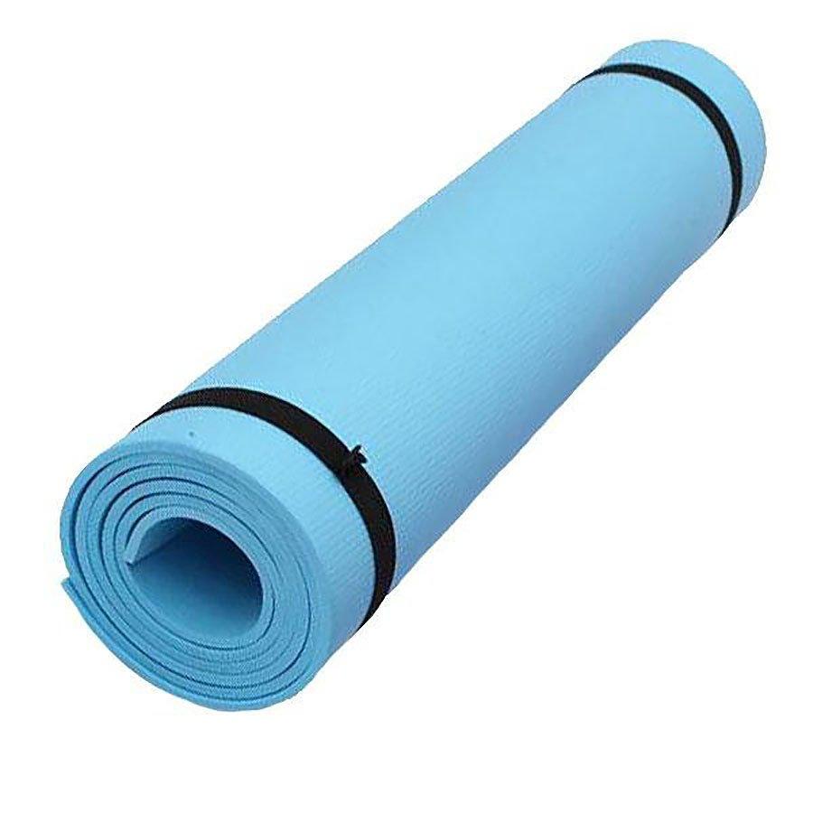 Modrá pěnová karimatka s obalem na cvičení - délka 173 cm, šířka 61 cm a výška 0,6 cm
