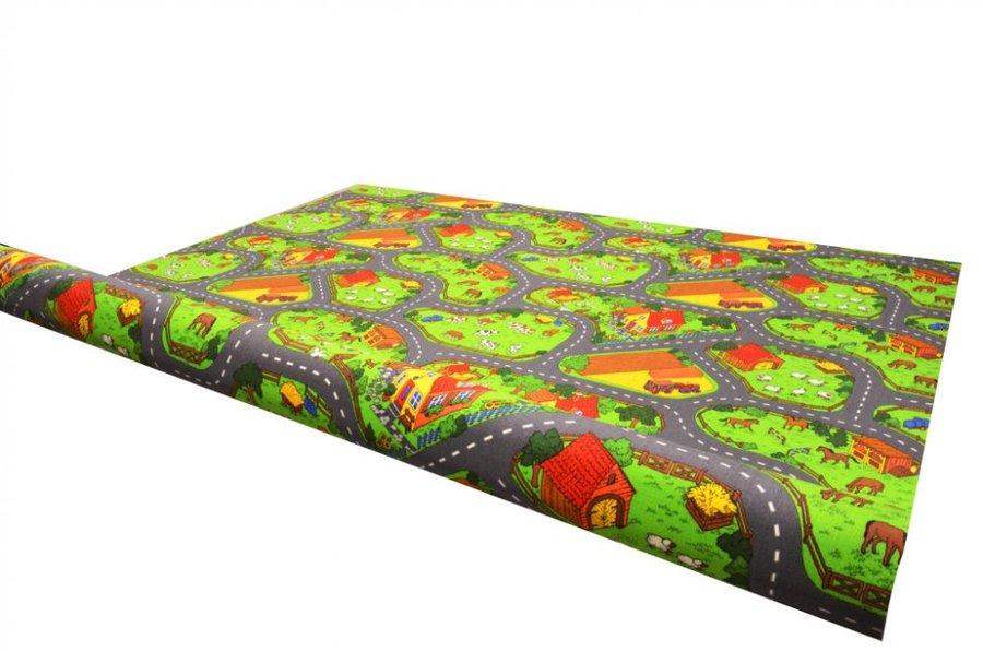 Různobarevný dětský metrážový hrací koberec Farma 2 - šířka 400 cm