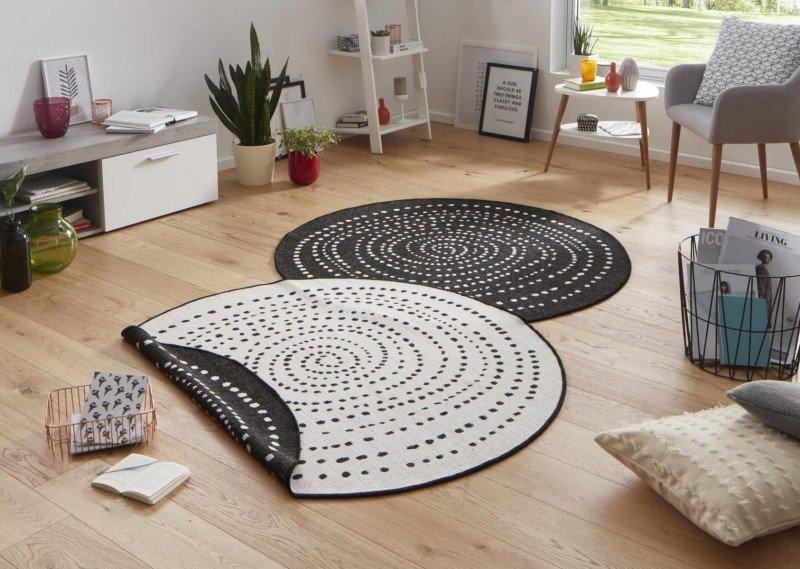 Béžovo-černý kusový oboustranný moderní kulatý koberec Twin-Wendeteppiche
