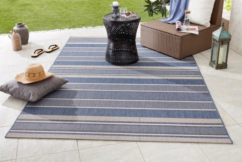 Modrý kusový moderní koberec Meadow