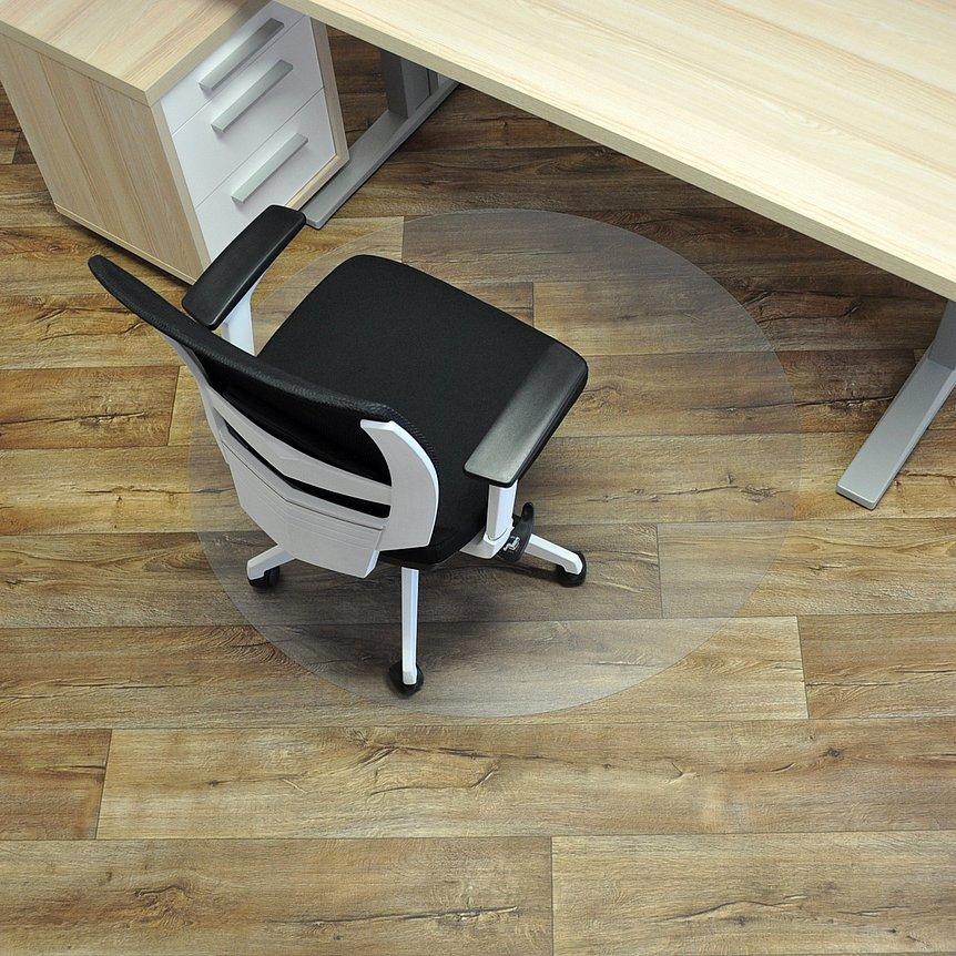 Čirá podložka na hladké povrchy pod židli - délka 120 cm, šířka 120 cm a výška 0,15 cm