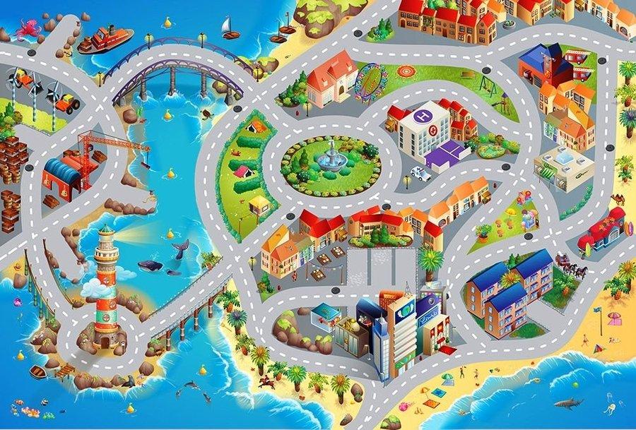 Různobarevný dětský kusový hrací koberec - délka 120 cm a šířka 80 cm