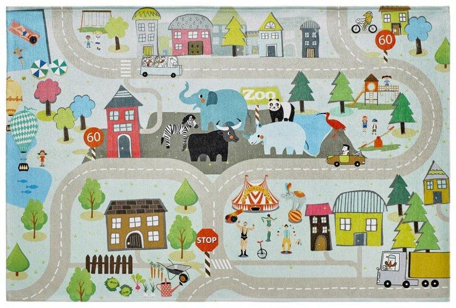 Různobarevný kusový dětský hrací koberec Torino Kids - délka 120 cm a šířka 80 cm