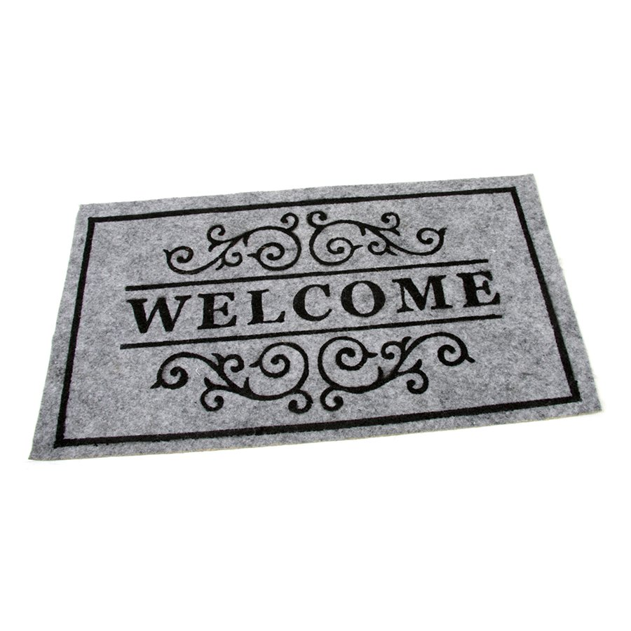 Šedá textilní vstupní čistící vnitřní rohož Welcome - Deco, FLOMAT - délka 33 cm, šířka 58 cm a výška 0,3 cm