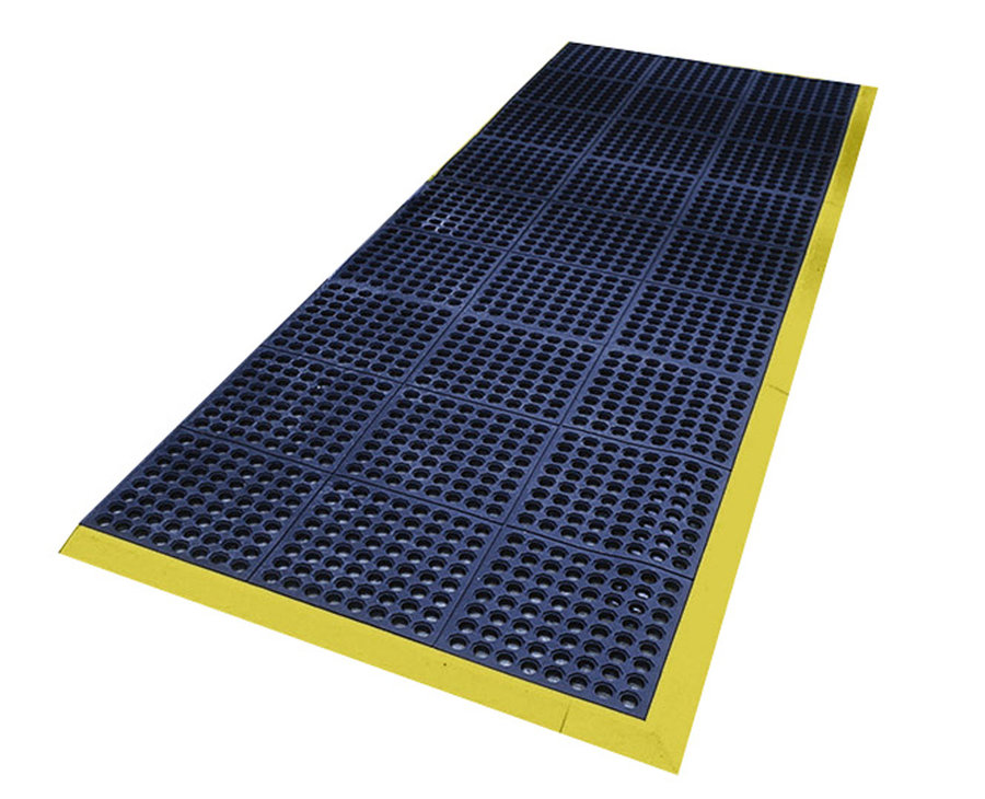Modrá gumová děrovaná modulární průmyslová protiúnavová protiskluzová rohož Fatigue - délka 90 cm, šířka 90 cm a výška 1,6 cm