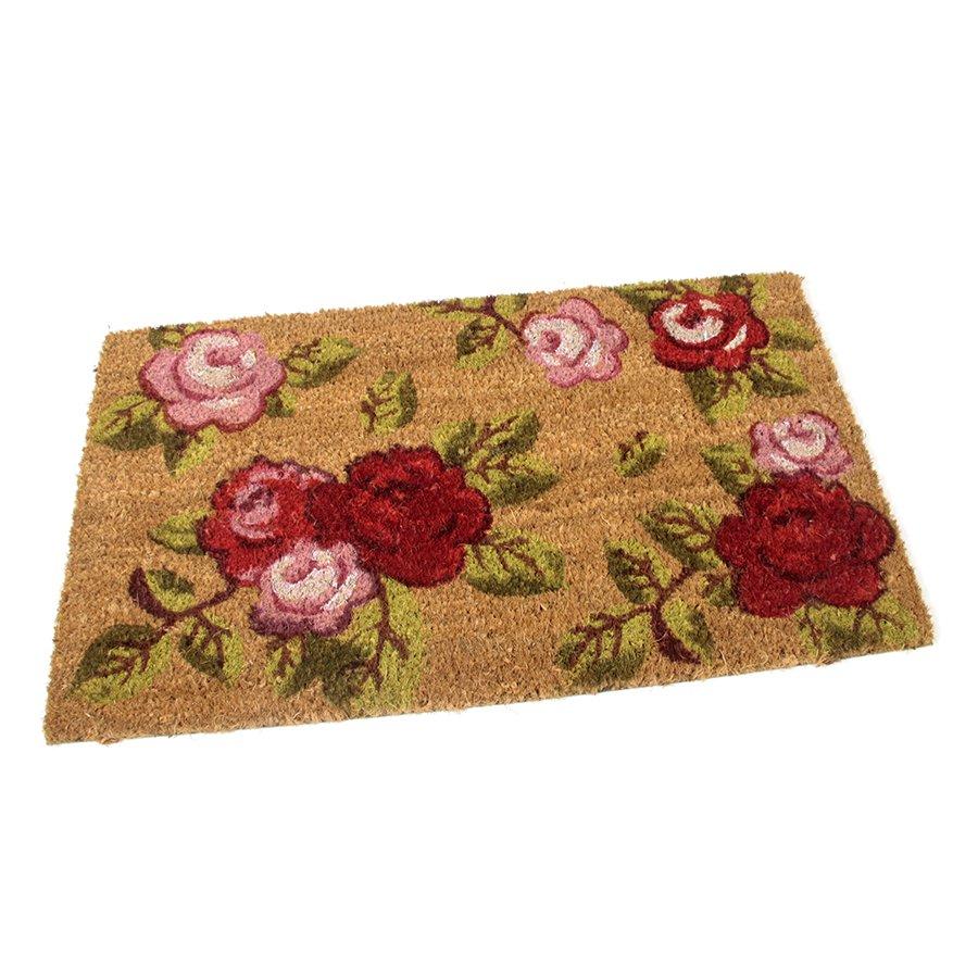 Kokosová čistící venkovní vstupní rohož Roses, FLOMAT - délka 60 cm, šířka 35 cm a výška 1,7 cm