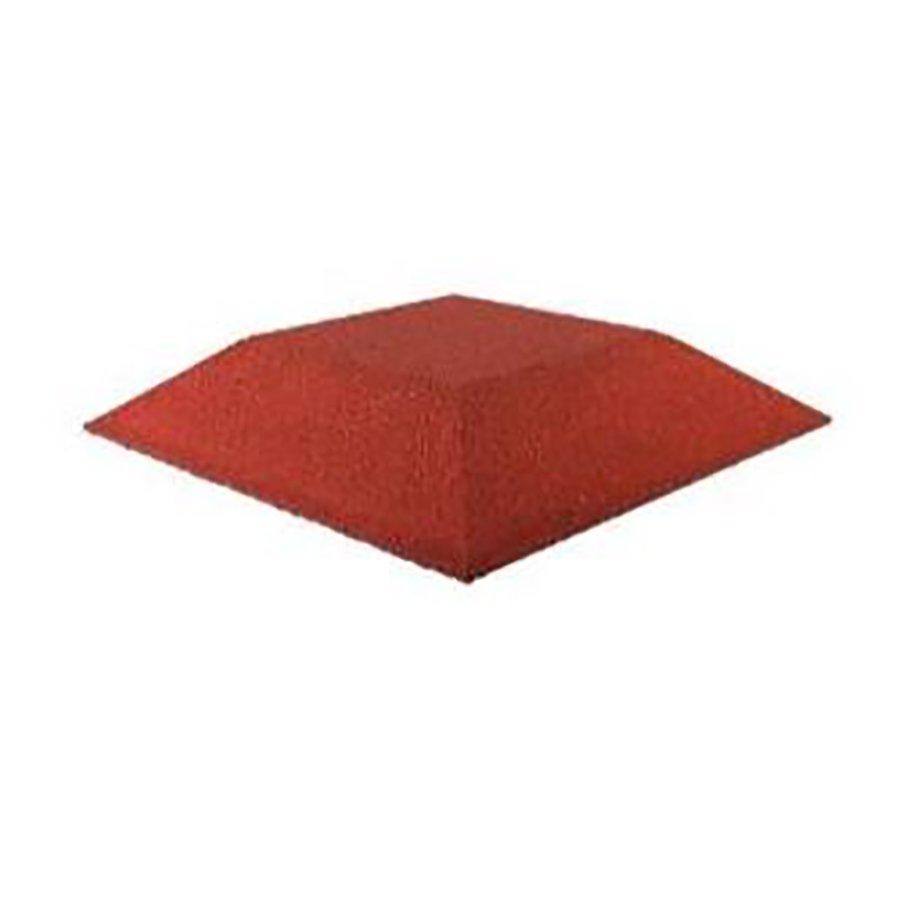 Červená gumová krajová deska (roh) (V80/R00) - délka 50 cm, šířka 50 cm a výška 8 cm