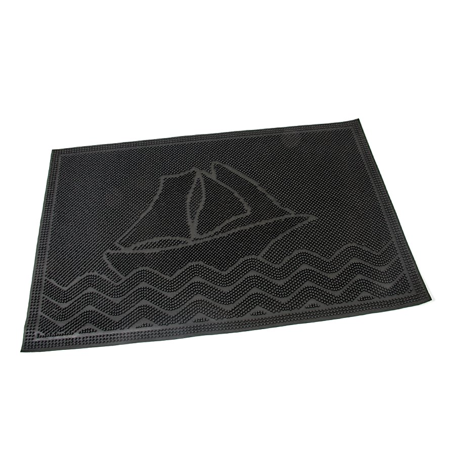Gumová vstupní venkovní kartáčová čistící rohož Ship, FLOMAT - délka 60 cm, šířka 40 cm a výška 0,6 cm