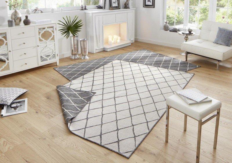 Šedý moderní oboustranný kusový koberec Twin-Wendeteppiche - délka 170 cm a šířka 120 cm