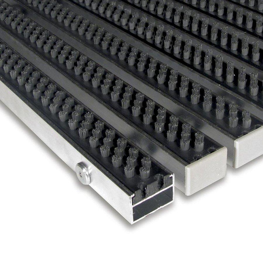 Šedá hliníková kartáčová venkovní vstupní rohož Alu Super, FLOMAT - výška 2,2 cm