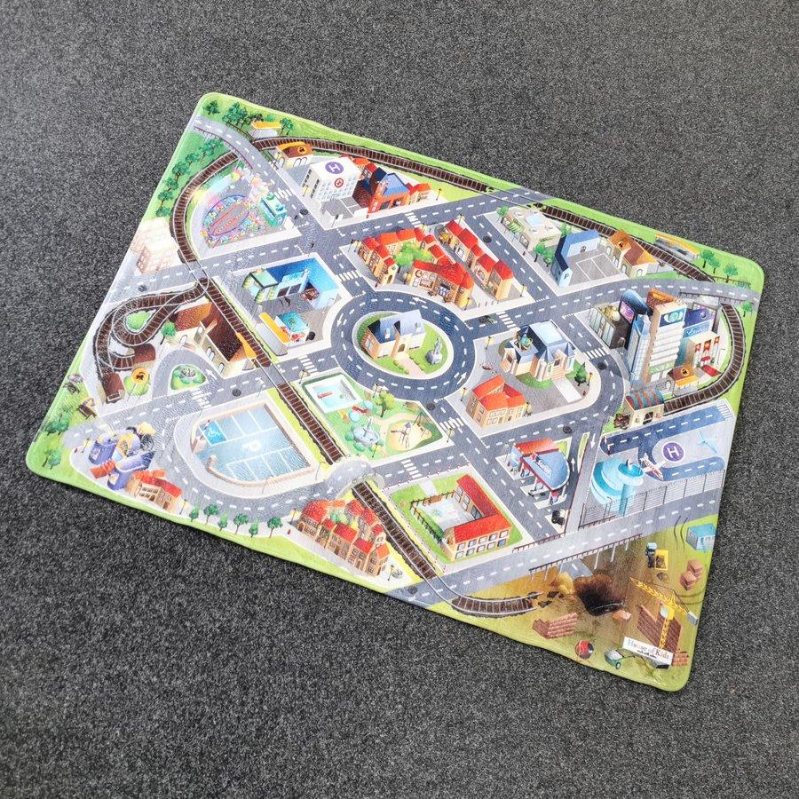 Různobarevný dětský kusový hrací koberec Město - délka 150 cm a šířka 100 cm