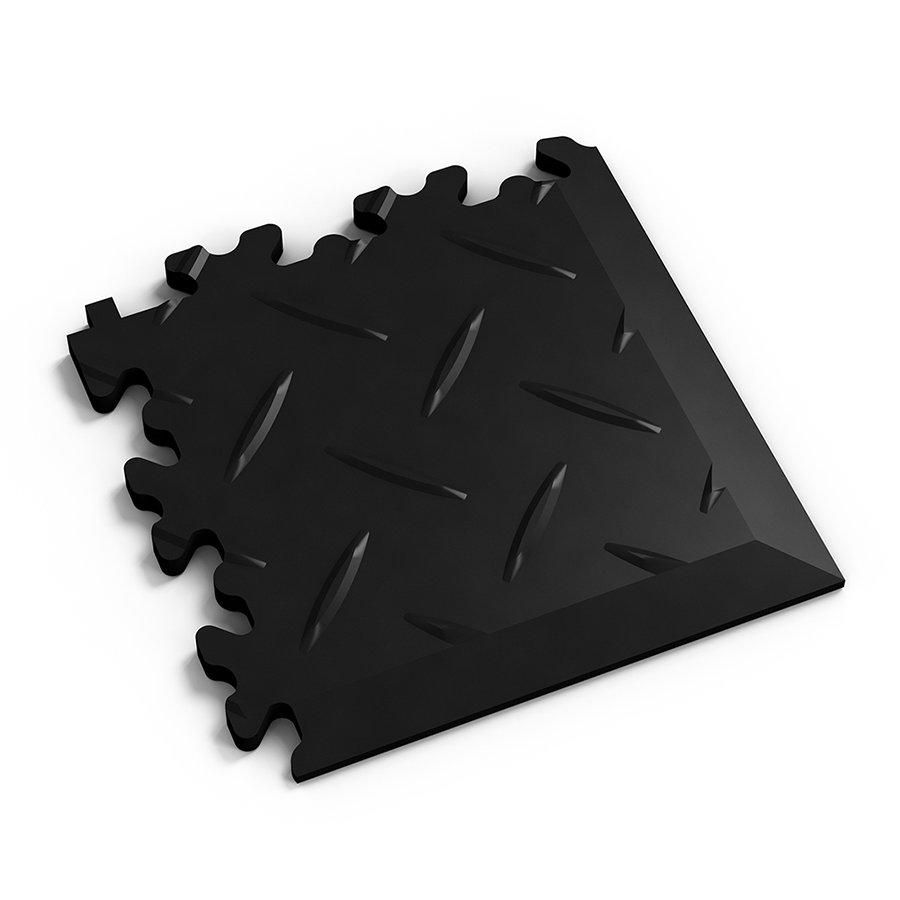 Černý plastový vinylový rohový nájezd 2016 (diamant), Fortelock - délka 14 cm, šířka 14 cm a výška 0,7 cm