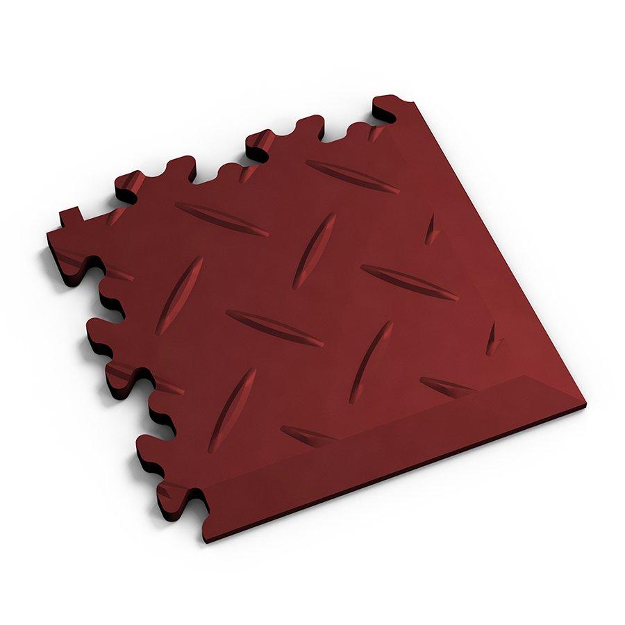 Červený vinylový plastový rohový nájezd 2016 (diamant), Fortelock - délka 14 cm, šířka 14 cm a výška 0,7 cm