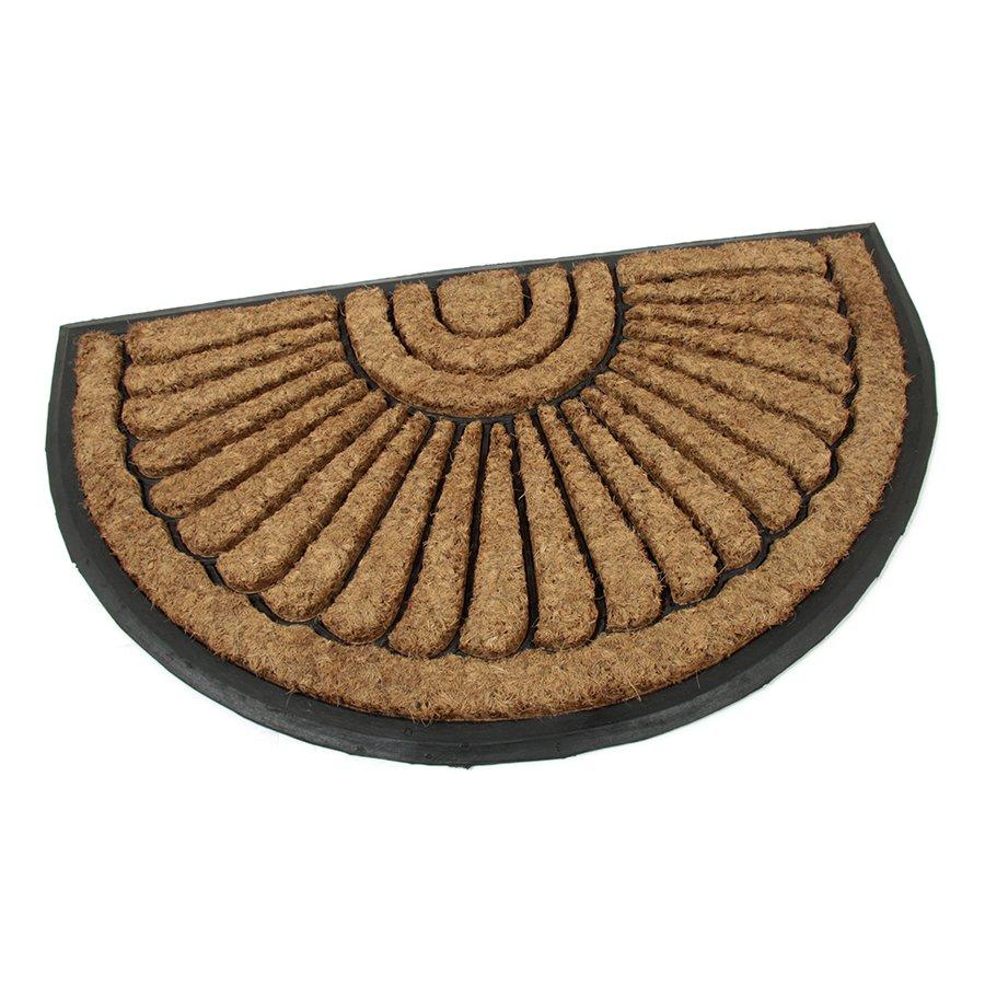 Kokosová čistící venkovní vstupní půlkruhová rohož Flower, FLOMAT - délka 45 cm, šířka 75 cm a výška 2,2 cm