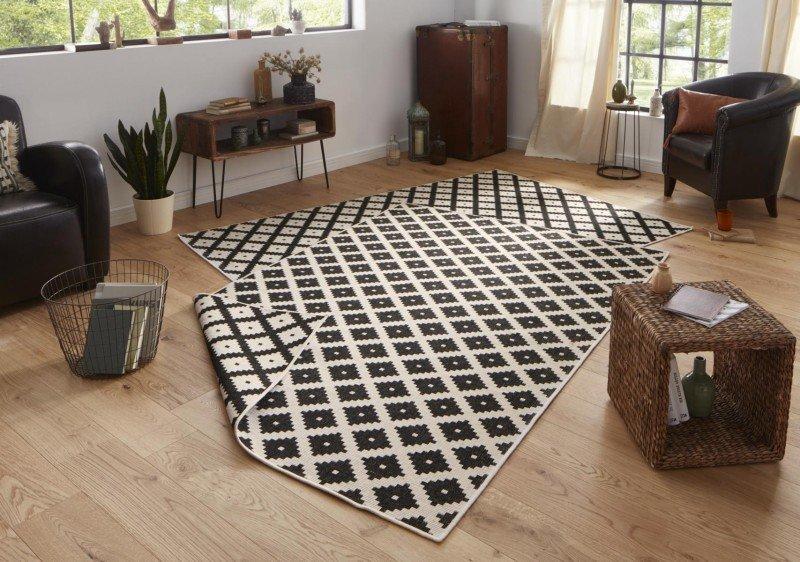 Černý moderní koberec běhoun - délka 350 cm a šířka 80 cm