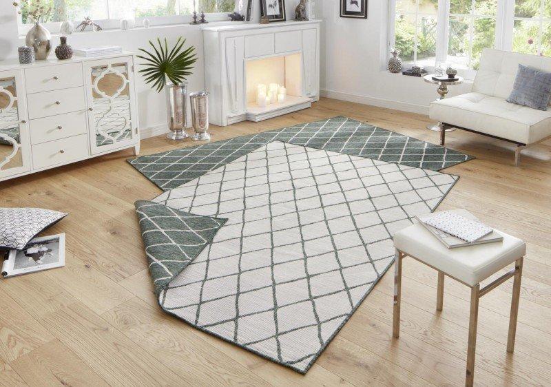Zelený kusový oboustranný moderní koberec Twin-Wendeteppiche