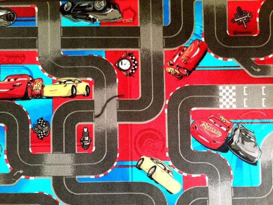 Různobarevný kusový dětský hrací koberec Auta 3 - délka 200 cm a šířka 95 cm