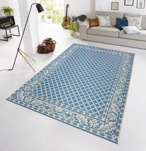 Modrý kusový orientální venkovní moderní koberec Botany