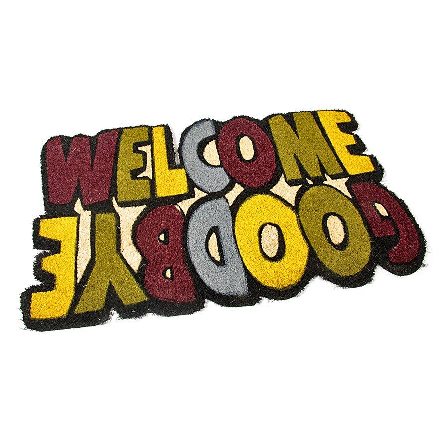 Kokosová čistící venkovní vstupní rohož Welcome - Goodbye, FLOMAT - délka 75 cm, šířka 45 cm a výška 1,7 cm