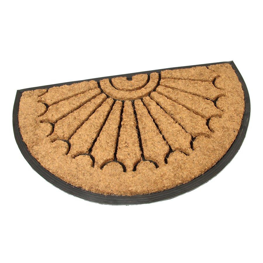 Kokosová čistící venkovní vstupní půlkruhová rohož Rays, FLOMA - délka 45 cm, šířka 75 cm a výška 2,2 cm