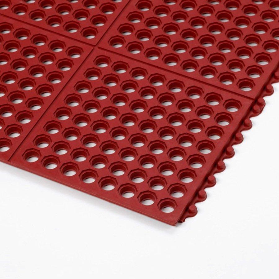 Červená gumová modulární kuchyňská rohož Cushion Easy, Red - délka 91 cm, šířka 91 cm a výška 1,9 cm