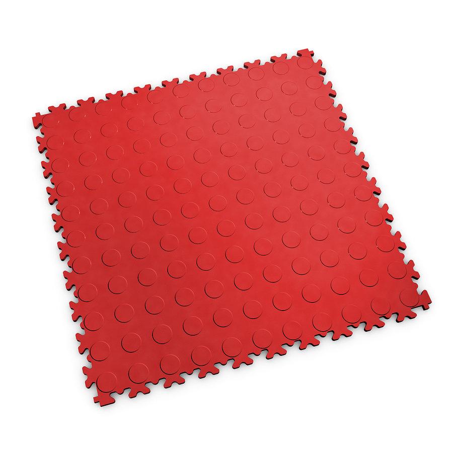 Červená vinylová plastová zátěžová dlaždice Industry 2040 (penízky), Fortelock - délka 51 cm, šířka 51 cm a výška 0,7 cm
