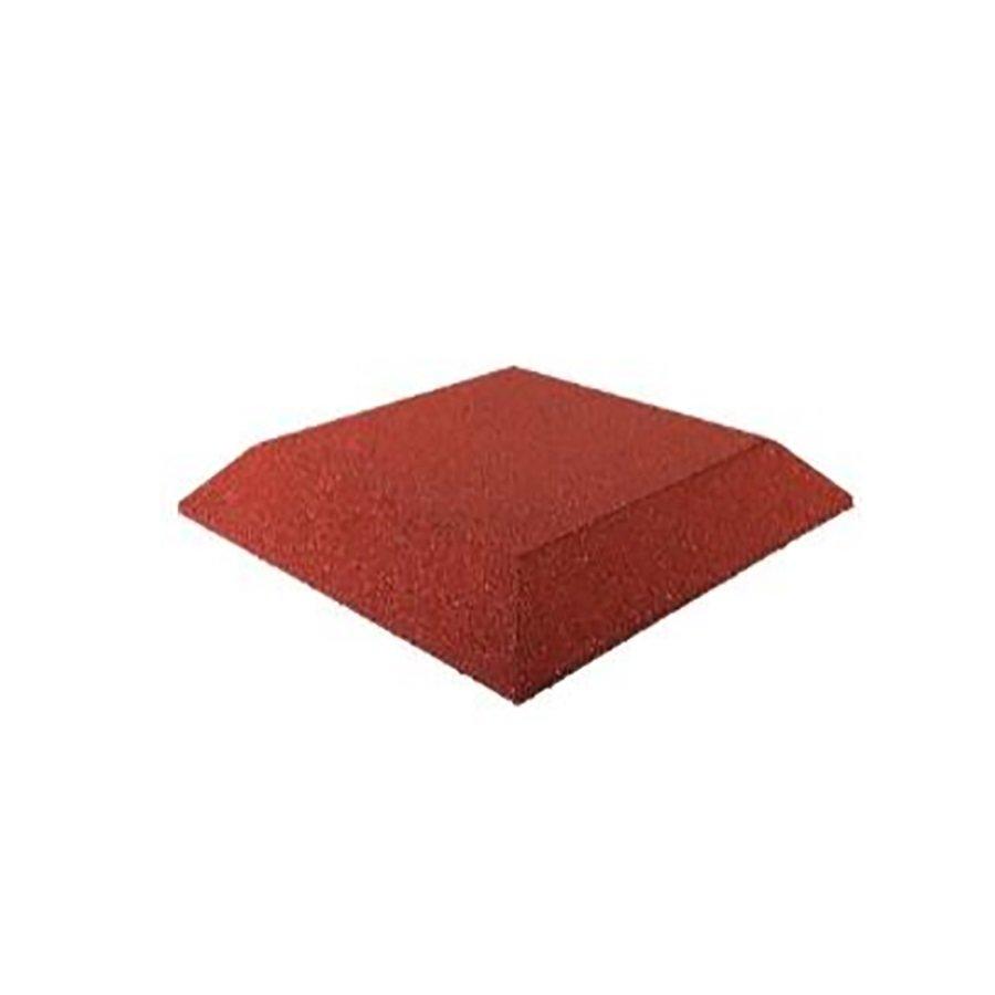 Červená gumová krajová deska (roh) (V65/R00) - délka 50 cm, šířka 50 cm a výška 6,5 cm