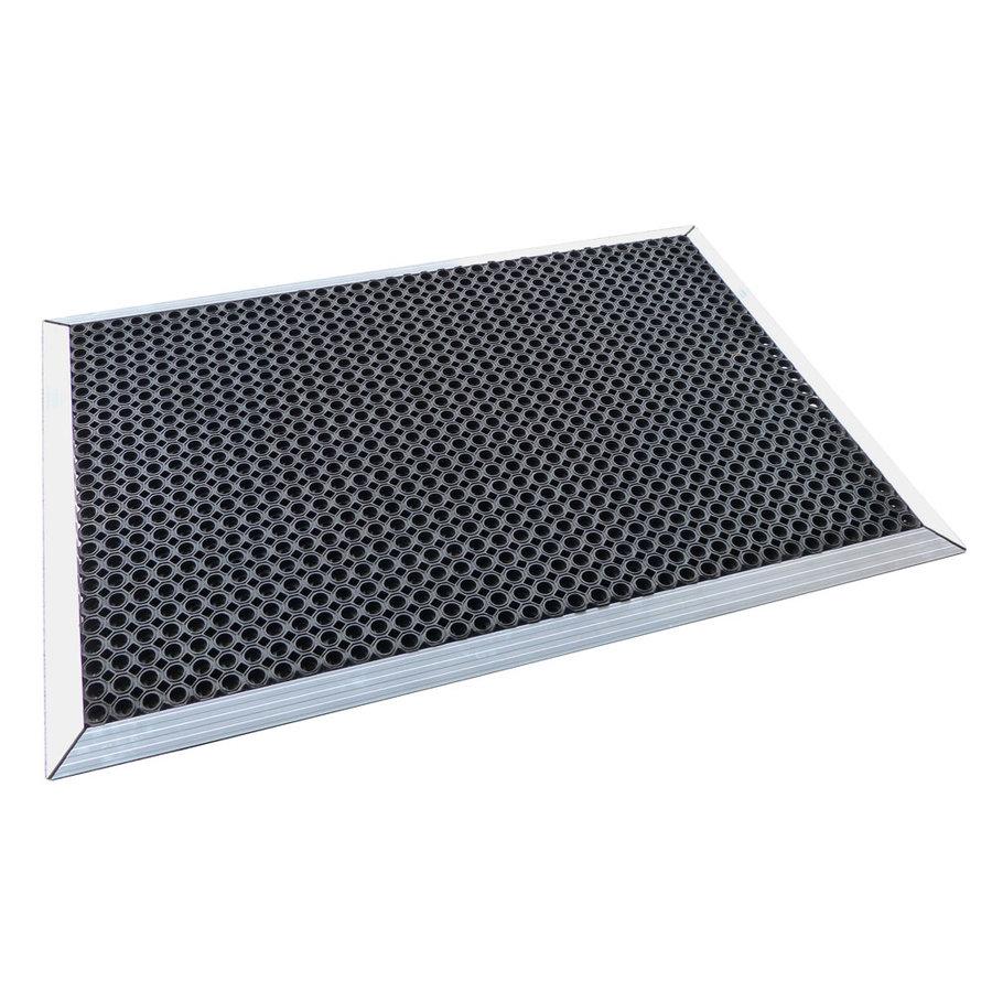 Černá gumová čistící vstupní rohož s hliníkovým nájezdem - délka 150 cm, šířka 100 cm a výška 2,2 cm