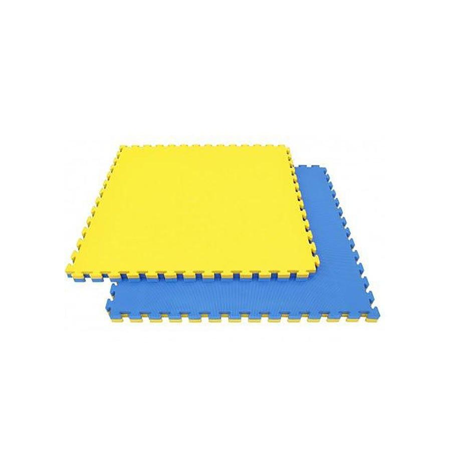 Žluto-modrá modulární pěnová oboustranná podložka - délka 103 cm, šířka 103 cm a výška 3 cm