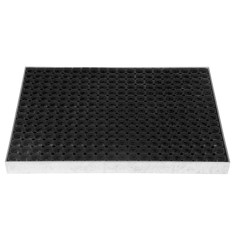 Kovová ocelová čistící venkovní vstupní rohož ze svařovaných podlahových roštů s gumou s pracnami Galva, FLOMA - délka 51,5 cm, šířka 60 cm a výška 6 cm
