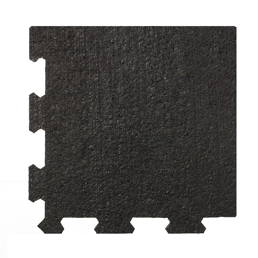 Černá pryžová modulární fitness deska (roh) SF1050 - délka 95,6 cm, šířka 95,6 cm a výška 1,6 cm
