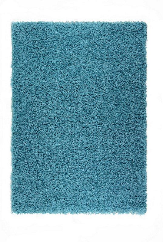 Modrý kusový koberec Shaggy s vysokým vlasem - délka 290 cm a šířka 200 cm