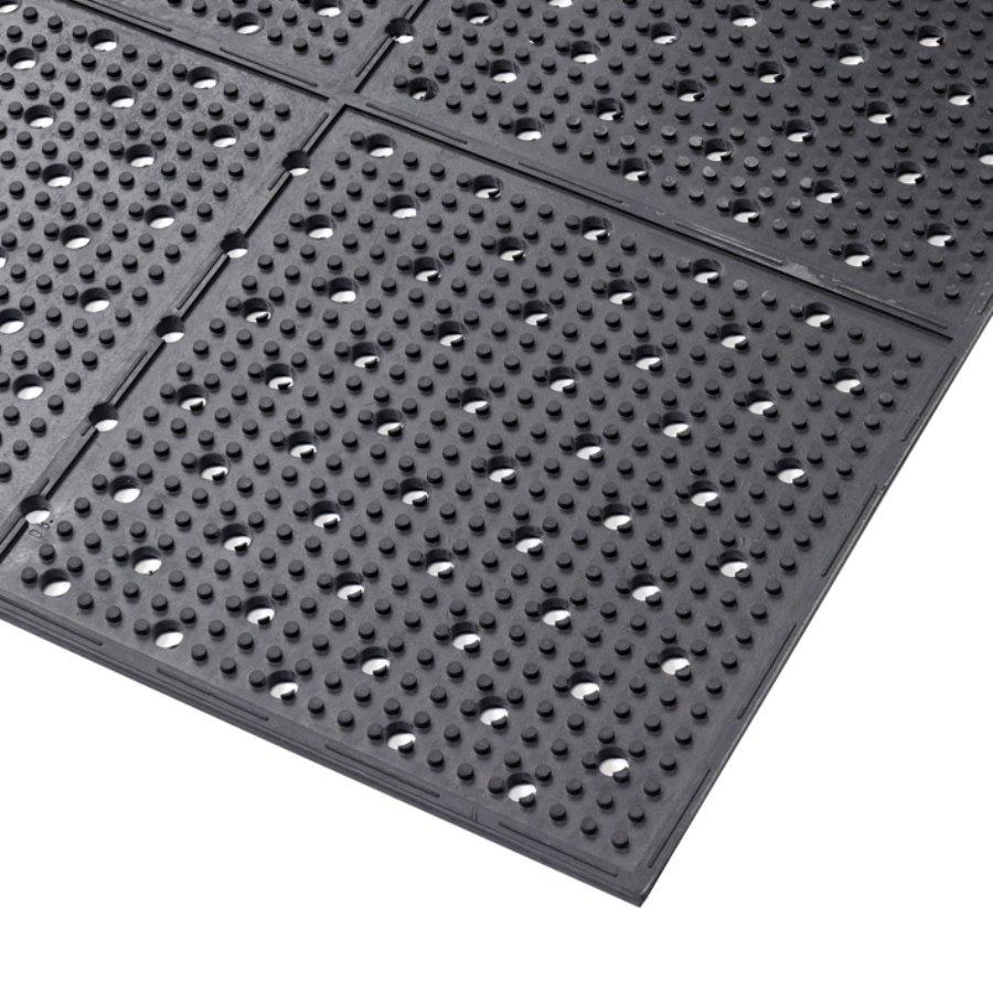 Černá gumová protiskluzová oboustranná rohož Multi Mat II - délka 122 cm, šířka 122 cm a výška 0,95 cm