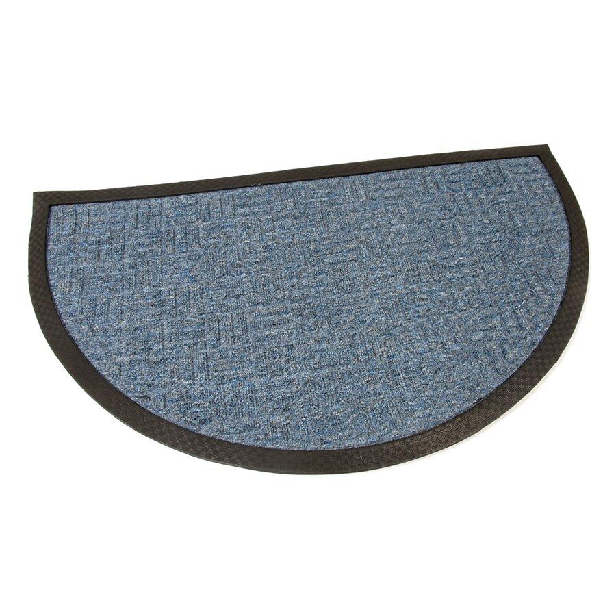 Modrá textilní čistící venkovní vstupní půlkruhová rohož Criss Cross, FLOMAT - délka 75 c