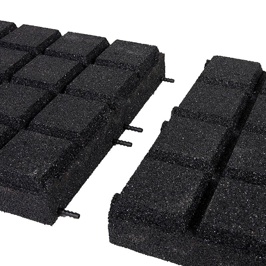 Černá gumová dlaždice (V90/R25BIG) - délka 50 cm, šířka 50 cm a výška 9 cm